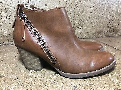 b655781087e8 DV Dolce Vita Target Ankle Boots 10 M Brown Faux Leather Stacked Heel  Double Zip