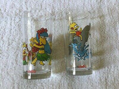 2 Simpsons Nutella collectable glasses, Lisa & Maggie