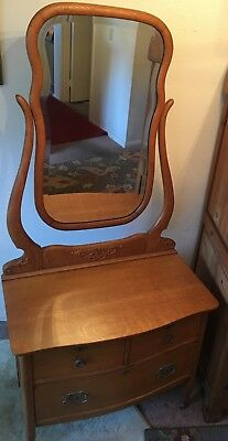 Antique Golden Oak Vanity Dresser W/ Beveled Mirror & Carvings EUC