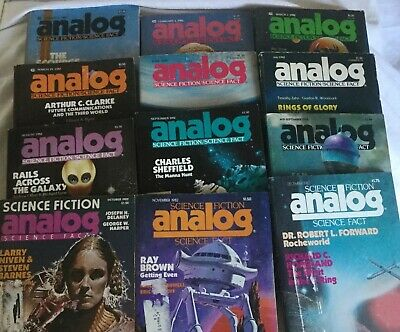 12 Analog Science Fiction Science Fact Magazines 1982 Jan-March; June-Dec