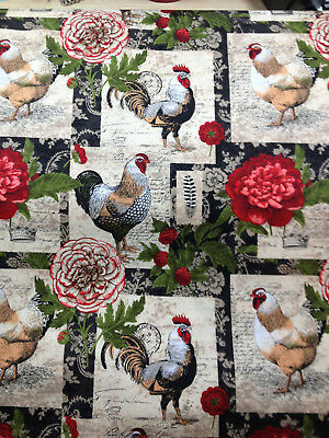 French Roosters Chickens Farm Country Hens Flowers Valance Window 14x42 Cotton *