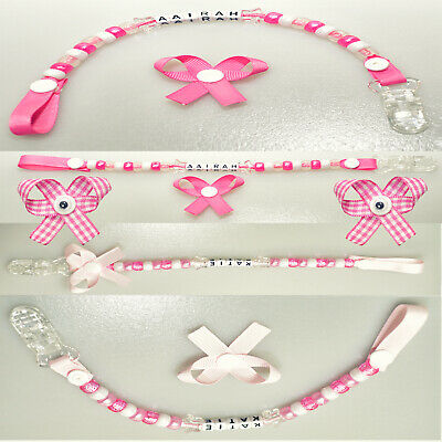 💕Personalised Pink Dummy Clip/Chain/Soother/Strap For 💕Baby Girl💕 Any Name 💕