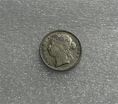 1888 Straits Settlements Victoria 10 Cents Silver  Coin Superb Patina Xf Km#11