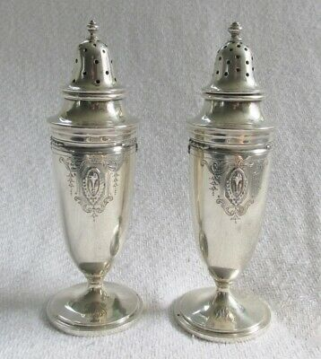 Antique Pair of Frank M Whiting Sterling Silver Tapered Salt & Peppers Shakers