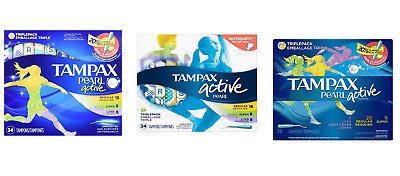 Tampax Pearl Active Tampons , Triple Pack-Choose your Model