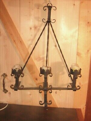 Rare Vintage 1900S Spanish Revival Wrought Iron Candelabra Candle Holder
