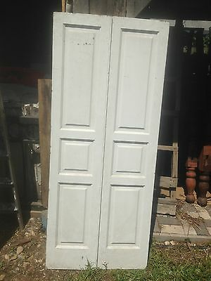 Vtg Pair 1800's Old  Wooden Window Shutters Architectural Salvage Screen 67  x15