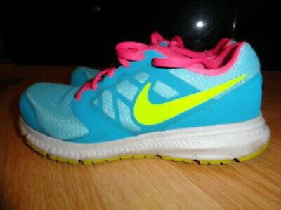 the latest b8ad0 10d12 Nike DownShifter Girls Blue Volt Pink Running Shoes Size 5Y - 685167-400