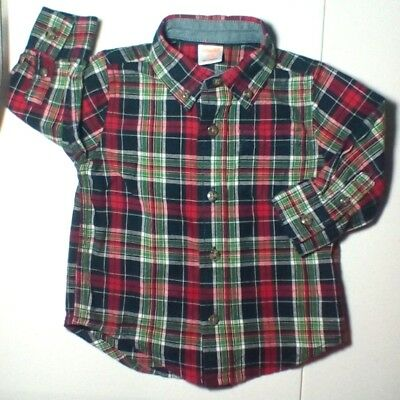 GYMBOREE Boys  6 to 12 Months Button Down Shirt Long Sleeves Green Red Plaid B17