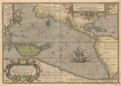 A4 Reprint of Old Maps 1589 Pacific Ocean Region Map Reprint