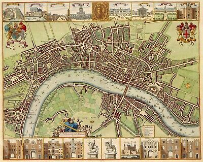 A4 Reprint of Old Maps Of London 17Th Century London By Hollar