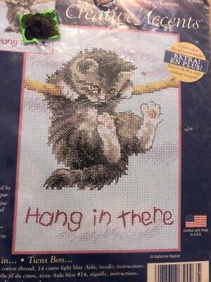 Hang In There Kitty Motivational Cat Creative Accents Cross Stitch Kit 79003