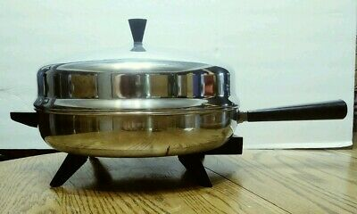 "Vintage Farberware Electric Frypan 310-B, 312-B Stainless Steel 12"" Dome Lid"