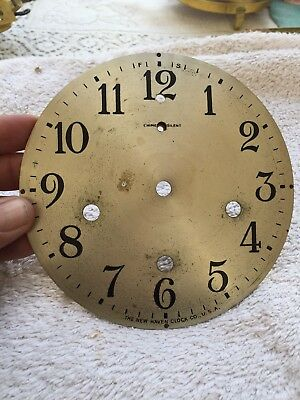 """Steel Dial Antique Newhaven Westminster Chime  Mantle Clock 5.75"""" Diameter"""