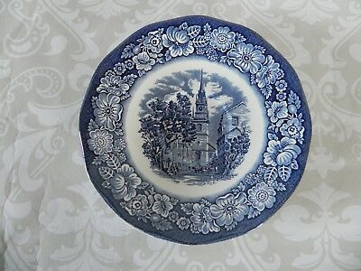 Liberty Blue Saucer Staffordshire Ironstone Old North Church Historic Scenes