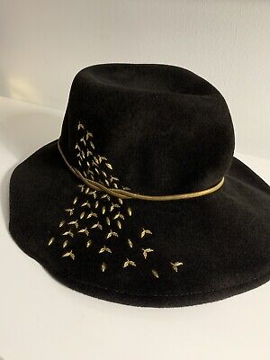 1d9d6214f12ea Eugenia Kim Rabbit Hair Wide Brim Floppy Hat W Gold Bird Metallic Detail