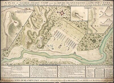 A4 Reprint of Map 1700s Geroge Stadt Camp River Guantanamo Cuba