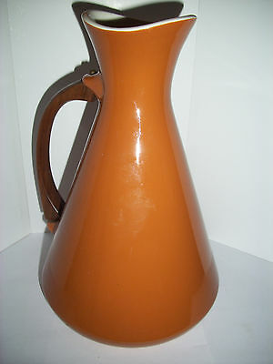 Ceramic Pitcher, Wooden Handle, Pottery, 10 Inches Tall, Brown, Very Nice