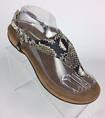 522ca4cc535 Vionic Kirra Womens Sandal Size 8.5 Leather Snake Print Orthotic Support  Brown