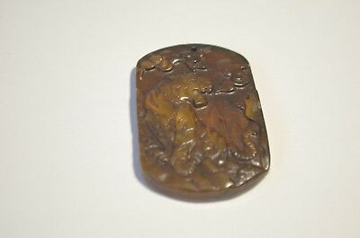 Vintage Natural Yellow Brown Jade Jadeite Hand Carved Tiger Pendant