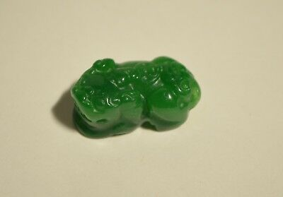 Vintage Natural Genuine Green Jadeite Jade Hand Carved Pixiu Pendant