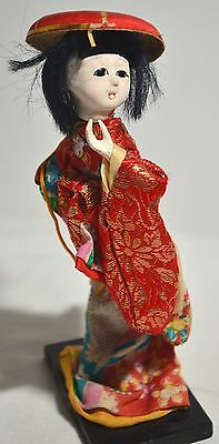 Beautiful Vintage Asian Japanese Geisha Doll Wearing Silk Kimono on Stand
