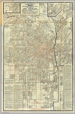 A4 Reprint of Old Maps 1905 Security Map Los Angeles