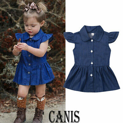 US Toddlers Baby Girls Short Sleeve Denim Dress Party Princess Sundress Outfit