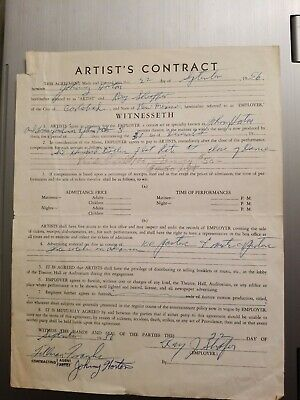 JOHNNY HORTON signed Personal Artist Contract AUTOGRAPH 1956  RARE (REDUCED!)