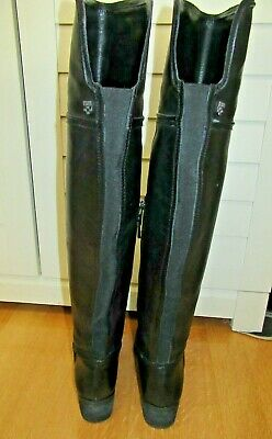 1478b36b7ab Vince Camuto Flat VC Baldwin2 Black Leather Over The Knee Boot Women s Sz 8M