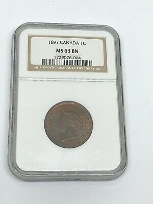 1897 Canada 🇨🇦 1 C Cent Penny Coin NGC MS 63 BN - RARE!!!