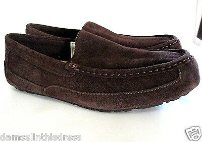 e37deb93b41 UGG ALDER MENS Moc Sueded Leather Wool Lined Slippers Espresso Sz ...
