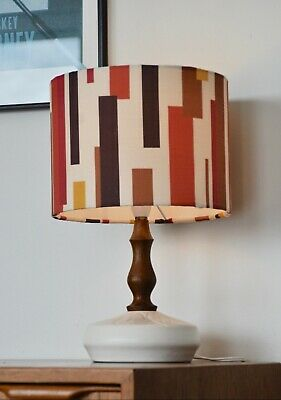 Danish Mid Century 'Kronblad' ceramic/teak table LAMP with new bespoke shade #1