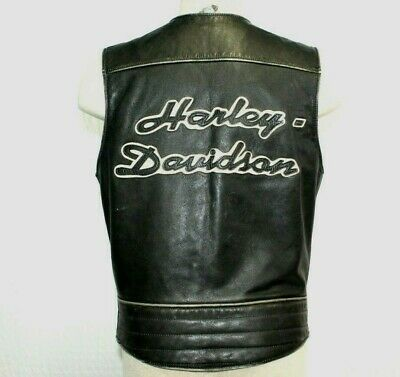 Harley Davidson Leather Vest Men's Small Spell out On Back Snap Button Vintage