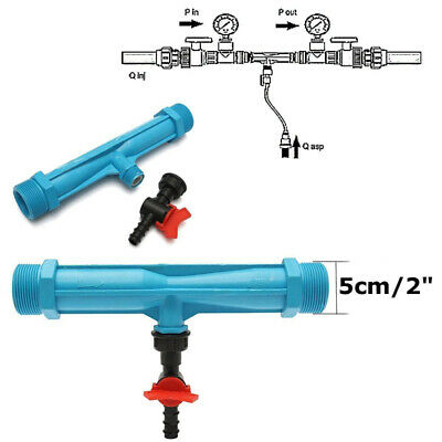 Blue Irrigation Venturi Fertilizer Injector 2 inch Farming Water Tube Thread