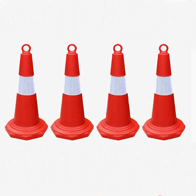 4x Traffic Cones with Reflective Sleeve 700mm Plastic Hi Vis Orange Safety Cone