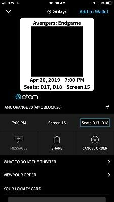 Avengers Endgame Tickets Dolby Cinema Recliner Seats 4/26 7PM D17&D18