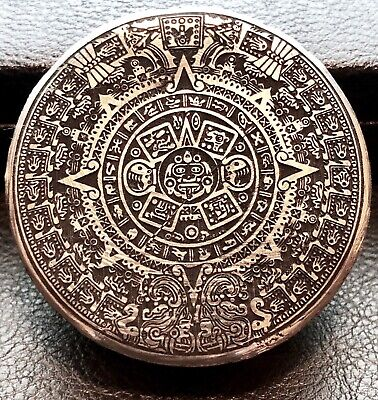 Hand Poured Aztec Calendar 5 oz .999 Fine Silver Art Hand Poured Round (N00-9)