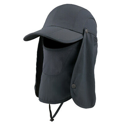 Outdoor Hat Face Mask Adjustable Removable Camping Fishing UPF 50+ UV Protection