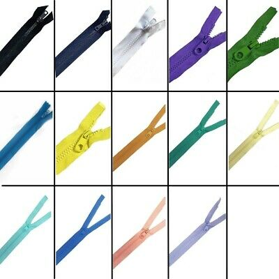 "10"" - 36"" Open Ended Chunky Plastic Zips - 14 Sizes & 16 Colours - Free Postage"
