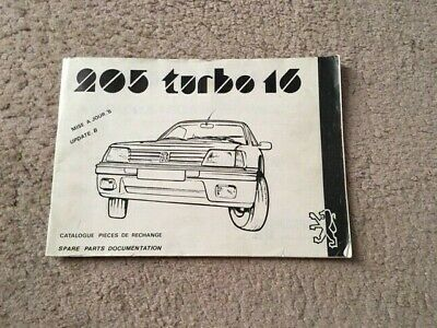 Catalogue Pieces Detachees Peugeot 205 T16 D Origine  Peugeot