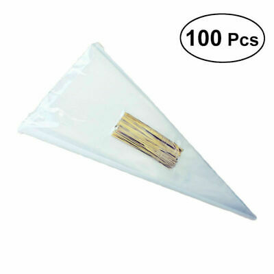 100pcs Clear Cellophane Cone Bag Sweet Candy Flower Packing Birthday Wedding