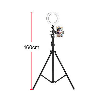 "6"" LED Selfie Ring Light w/ 63"" Folding Tripod Stand Smart Phone Holder for Live"