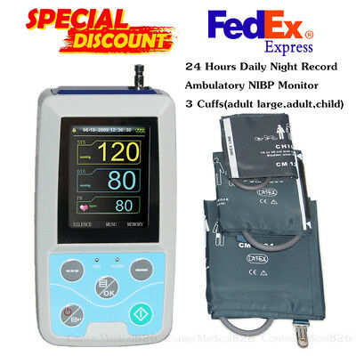 24H Ambulatory Blood Pressure Monitor USB NIBP Holter+3 Cuffs+Software,US Seller