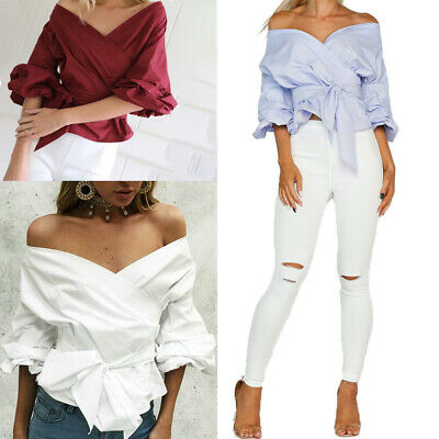 eea82190c6414 Women Bardot Top Ruffle Sleeve Waist Tie Cross Off Shoulder Shirt V Neck  Blouse