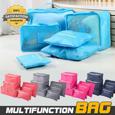 6Pcs Packing Cube Travel Pouch Luggage Organiser Clothes Suitcase Storage Bags