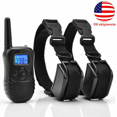 Petrainer Waterproof Rechargeable Electric LCD Remote Shock Training 2Dog Collar