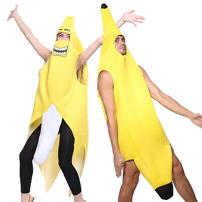 Ms Banana Costume Fruit Funny Novelty Fancy Dress Yellow Womens Stag Hens Bucks