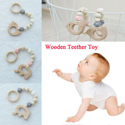 Cute Toddler Baby Boys Girls Wooden Toy Infant Kids Cartoon Beads chain Toy Gift