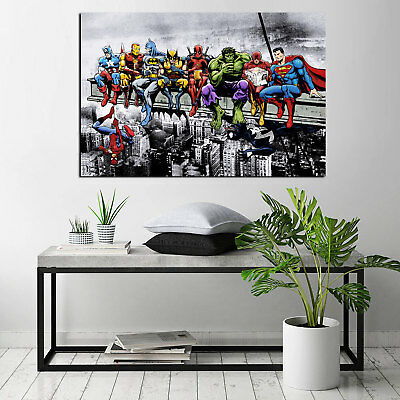 Marvel and DC Superhero Lunch Atop A Skyscraper HD Print on Canvas Oil Painting